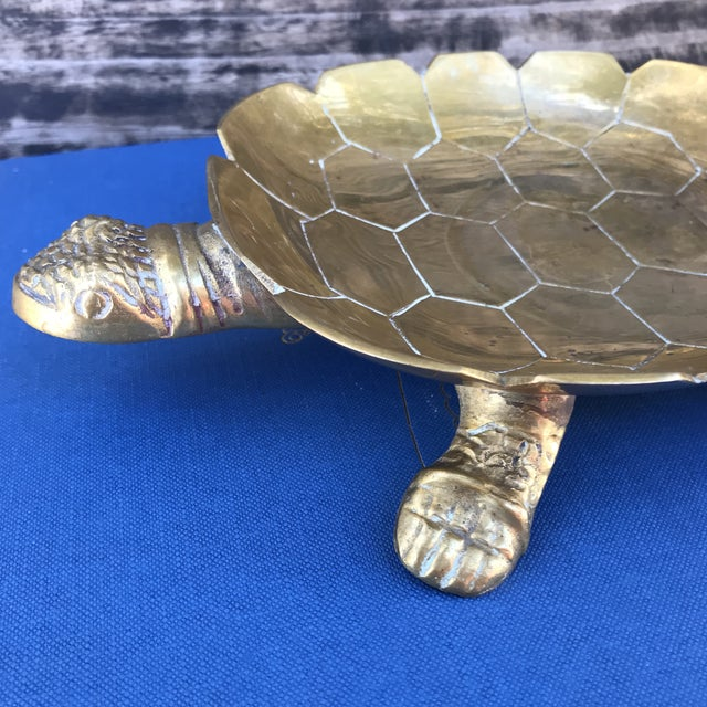 1970s Large Vintage Solid Brass Turtle Catchall Tray Trinket Dish For Sale - Image 5 of 10