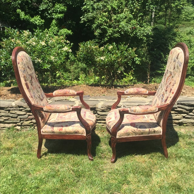 Vintage Victorian High Back Parlor Chairs - A Pair - Image 5 of 11