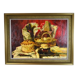 Large Impressionist Wine Pastries Preserves Still Life Oil Painting by Young For Sale
