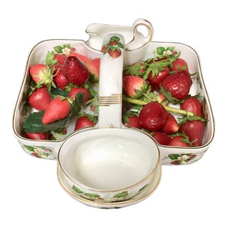 1980s Hammersley Spode Bone China Strawberry Basket Set For Sale