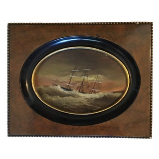 20th Century Nautical Oil Painting on Copper of Miniature Clipper Ship For Sale