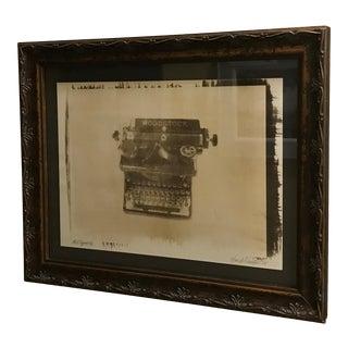 Framed Original Sepia Tone Typewriter Artwork For Sale