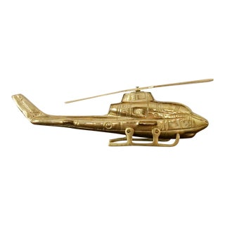 1960s Solid Brass Helicopter With Moving Propeller
