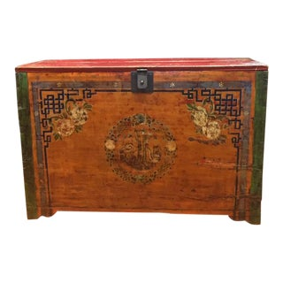 Antique Chinese Painted Lacquer Chest For Sale