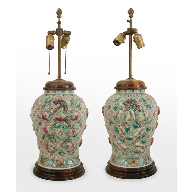 Mid 20th Century Pair of Asian Chinese Style Large Ginger Jar Shaped Porcelain Lamps For Sale - Image 5 of 5