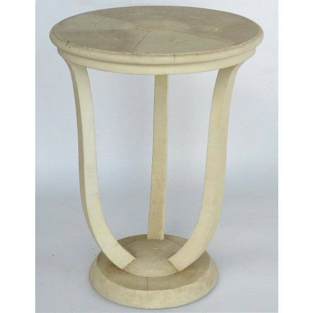 Maitland Smith Tri-Leg Shagreen Side Table Offered for sale is an occasional table by Maitland Smith clad in an ivory...