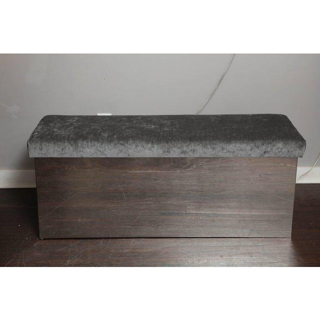 Custom wrapped stainless bench upholstered in grey velvet Second bench is available.