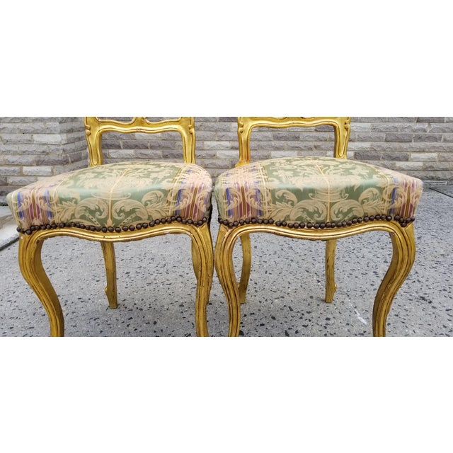 Antique French Louis XV Style Rococo Giltwood Parlor Chairs-A Pair For Sale In New York - Image 6 of 11