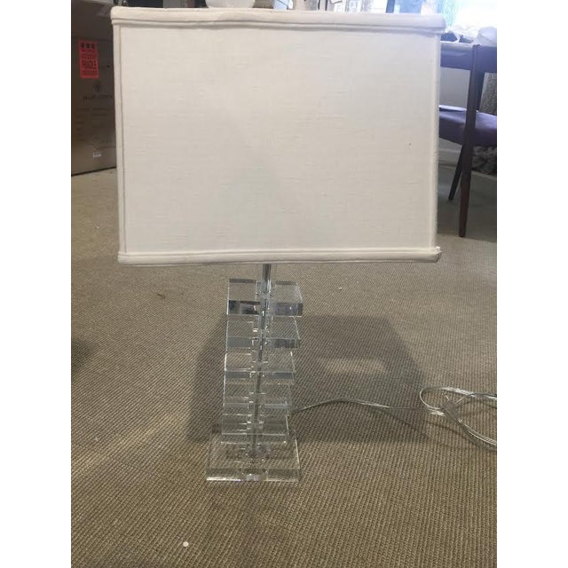 Glass Square Column Table Lamps - A Pair - Image 3 of 8