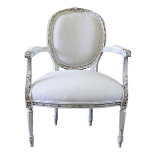19th Century Carved Louis XVI Style Chair Upholstered in Belgian Linen