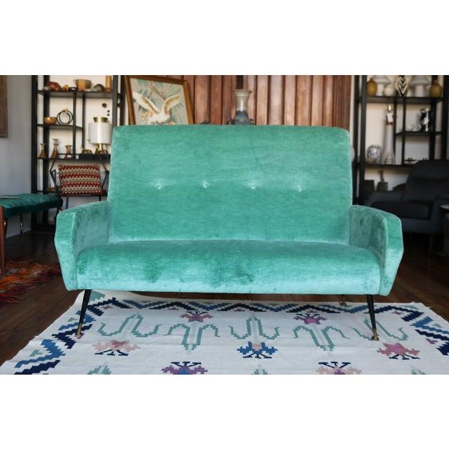 Mid-Century Italian Aqua Velvet Sofa - Image 3 of 7
