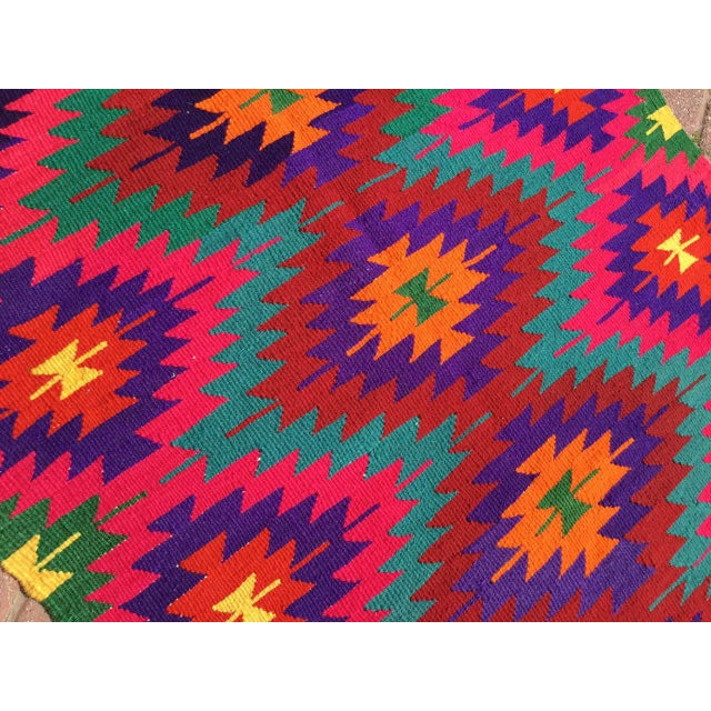 Hot Pink Turkish Kilim Rug For Sale In Raleigh - Image 6 of 10