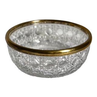 Vintage Brass Rim Crystal Bowl For Sale