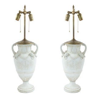 French Louis XVI Style Porcelain Urn Table Lamps For Sale