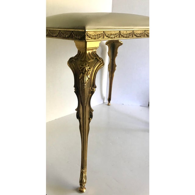 French Vintage Regency Brass Vanity Stool Made in Italy For Sale - Image 3 of 11