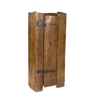 Very Rustic Italian Chestnut Single Door Cabinet With Wrought Iron Hinges, Circa 1720. For Sale