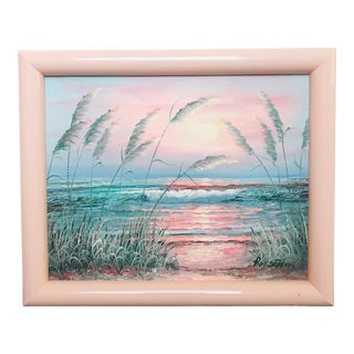 1980s Pampas Grass Ocean Seascape Painting in a Pink Lacquer Frame, Signed Robertson For Sale