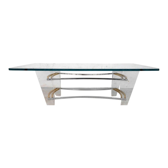 Vintage Lucite and Brass Coffee Table by Charles Hollis Jones For Sale