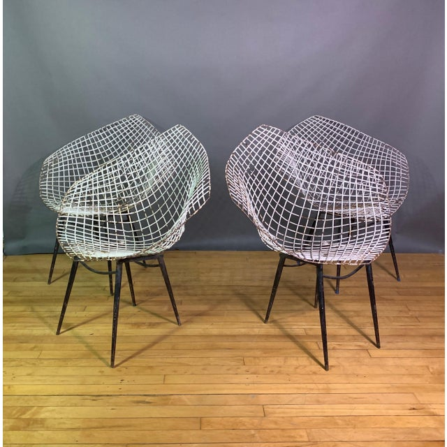 Set of 1970s Iron Diamond Outdoor Chairs, Manner of Bertoia For Sale - Image 11 of 11