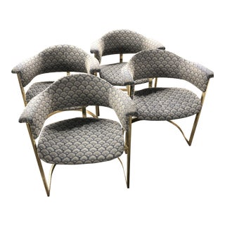 Vittorio Introini for Mario Sabot Brass Cantilever Chairs- Set of 4 For Sale