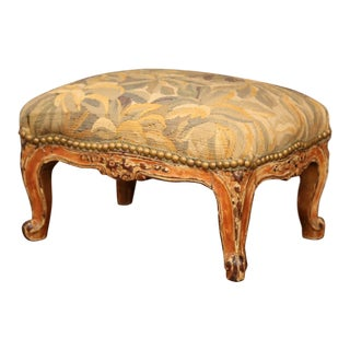19th Century French Louis XV Carved Gilt Walnut Footstool With Aubusson Tapestry For Sale
