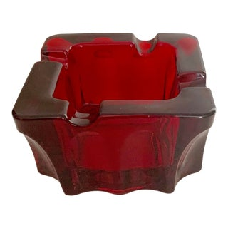 Vintage Red Glass Contemporary Modern Square Ashtray For Sale
