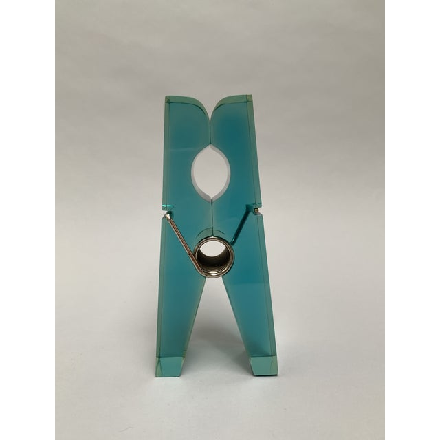 Oversized Teal Lucite Clothespin Paperweight or Paper Holder For Sale - Image 10 of 13