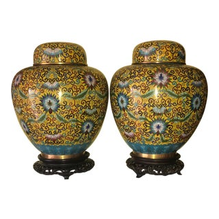 Antique Chinese Cloisonné Ginger Jars With Lids and Wood Stands - a Pair For Sale