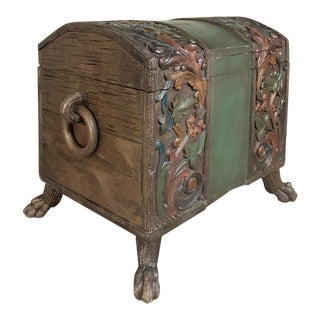 19th Century Painted Black Forest Footed Trunk For Sale