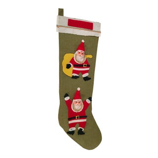 Vintage Green Burlap Santa Stocking For Sale