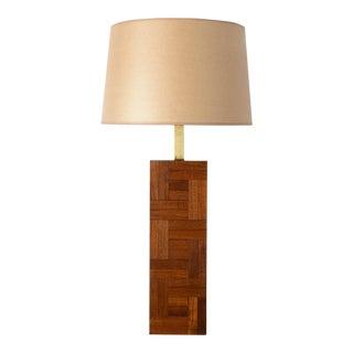 Danish Modern Milo Baughman Style Teak Block Table Lamp