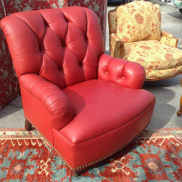 2000 - 2009 21st Century Traditional Red Leather Chair For Sale - Image 5 of 5