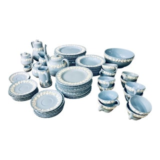 Wedgewood Blue Queen's Ware Chinaware - 67 Pc. Set For Sale