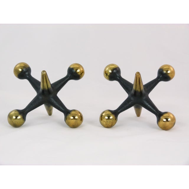Mid-Century Modern Bill Curry Gold and Black Jacks Bookends For Sale - Image 3 of 5