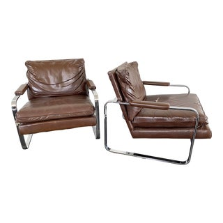 Pair of Mid Century Chrome Lounge Chairs For Sale
