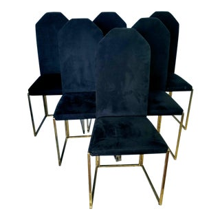 1970s Vintage Modern Italian Black Suede and Brass Dining Side Chairs - Set of 6 For Sale