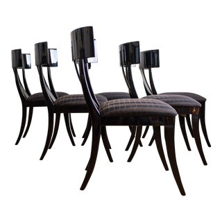 Klismos Dining Chairs | Made in Italy by Pietro Costantini | Black Lacquer Set of Six For Sale