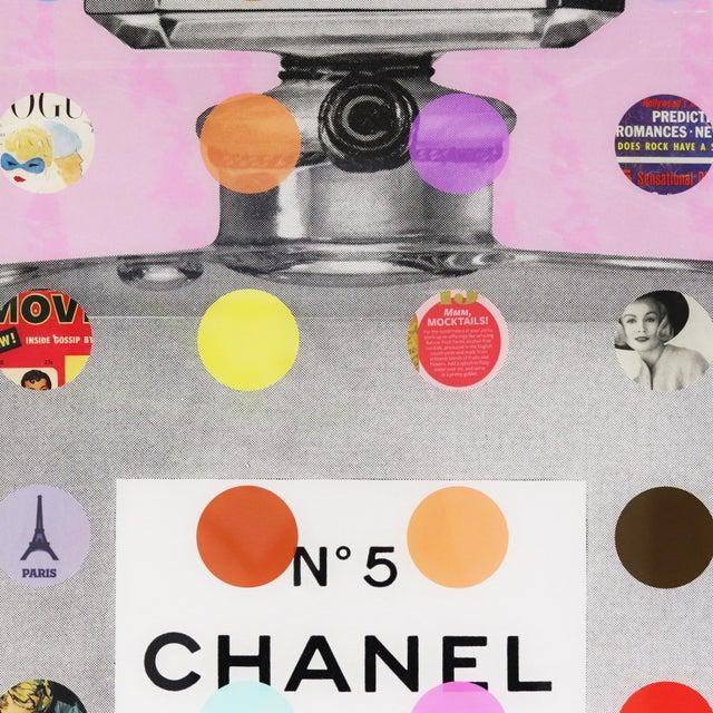 "Canvas Nelson De La Nuez ""Chanel #5 Pink With Grey Bottle (118/125)"" Original Painting For Sale - Image 7 of 11"
