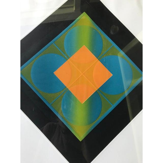 Mid-Century Modern Mid-Century Modern Carlos Davila Geometric Embossed Serigraph Print, Framed For Sale - Image 3 of 8