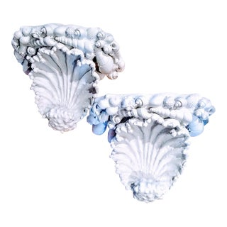 A Pair Vintage White Clam Shell Palm Beach Regency Wall Sconces For Sale