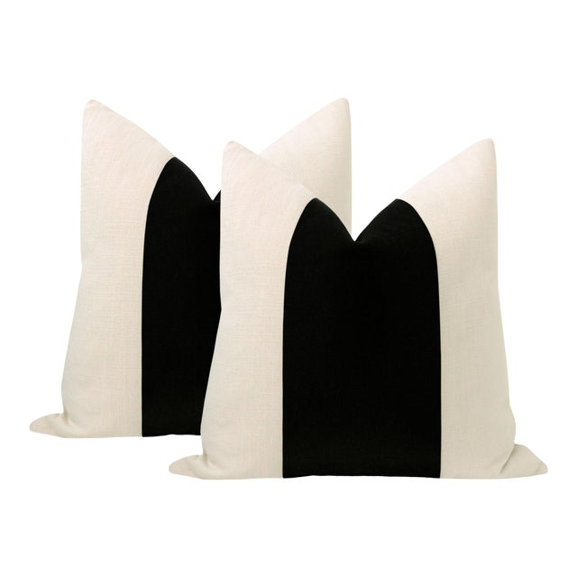 "22"" Caviar Mohair Velvet Panel & Linen Pillows - a Pair For Sale"