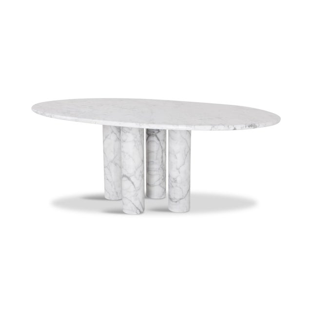 Italian Mario Bellini Il Colonnata Oval Dining Table in Carrara Marble for Cassina For Sale - Image 3 of 12