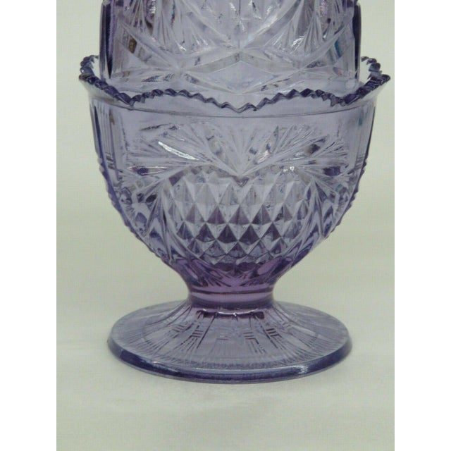 Purple Fenton Wisteria New Heart Purple Glass Two Piece Fairy Lamp Candle Holder For Sale - Image 8 of 11