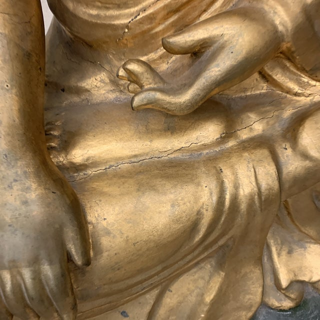 Lifesize Hand Carved Solid Wood Gold Leaf Buddha For Sale - Image 11 of 13