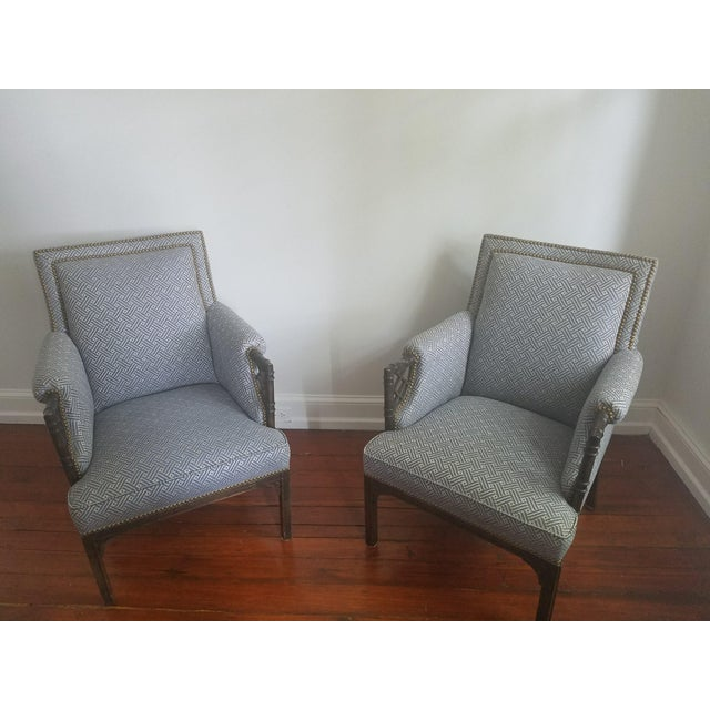 Comfortable, sturdy Chippendale-style chairs that have been lovingly reupholstered in Lee Jofa Wyndham Weave fabric....