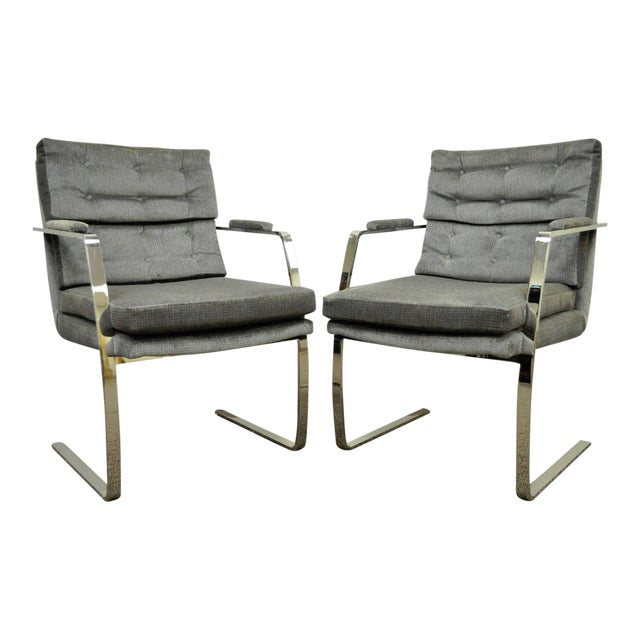 Pair Vintage Mid Century Modern Chrome Steel Cantilever Arm Chairs Baughman Style For Sale