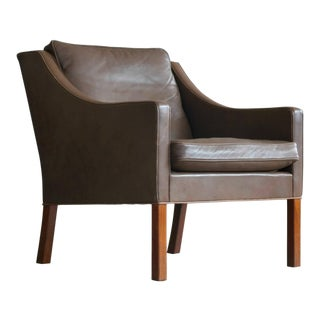 Lounge Chair Model 2207 by Børge Mogensen Down Filled Medium Brown Topgrain Leather For Sale