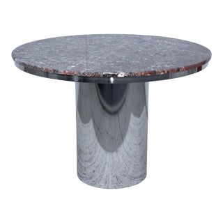 Brueton Stainless Steel And Marble Dining Table For Sale