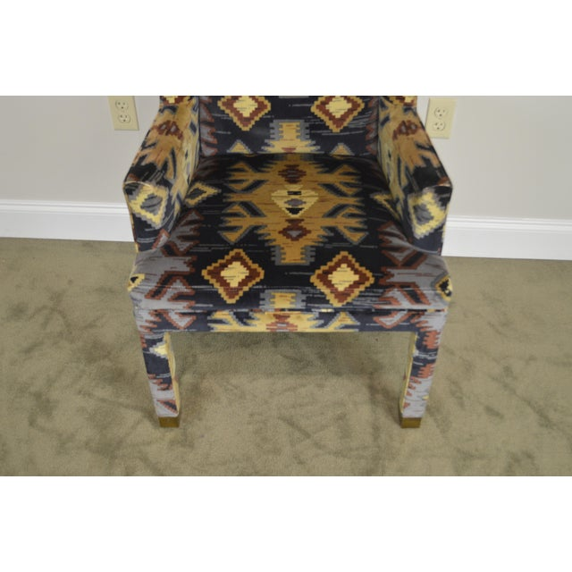 1990s Henredon Vintage Southwood Upholstered Parsons Arm Chair For Sale - Image 5 of 13