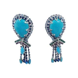 1960s Vendome Multicolor Fringe Earrings For Sale